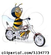 3d Male Bee Riding A Chopper Motorcycle On A White Background