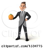 3d White Business Man Holding An Orange On A White Background