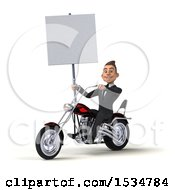 3d White Business Man Biker Riding A Chopper Motorcycle On A White Background