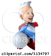 3d White Haired White Female Super Hero In A Blue And Red Suit Holding A Golf Ball On A White Background