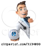 Clipart Of A 3d White Male Doctor Holding An Eye On A White Background Royalty Free Illustration