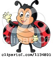 Clipart Of A Ladybug Waving Royalty Free Vector Illustration