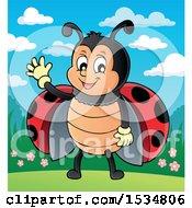 Clipart Of A Ladybug Waving Royalty Free Vector Illustration