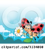 Poster, Art Print Of Ladybug Flying With A Flower