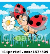 Ladybug Flying With A Flower