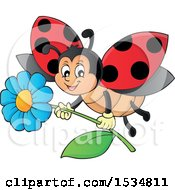 Clipart Of A Ladybug Flying With A Flower Royalty Free Vector Illustration