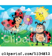 Clipart Of Ladybugs Waving And Holding A Flower Royalty Free Vector Illustration