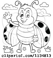Clipart Of A Black And White Ladybug Waving Royalty Free Vector Illustration