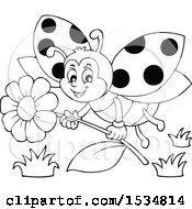 Poster, Art Print Of Black And White Ladybug Flying With A Flower