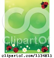 Clipart Of A Ladybug Spring Time Background Royalty Free Vector Illustration