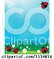 Clipart Of A Ladybug Spring Background Royalty Free Vector Illustration