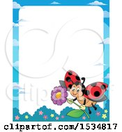 Clipart Of A Border Of A Ladybug Flying With A Flower Royalty Free Vector Illustration