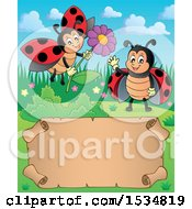 Clipart Of A Parchment Scroll With Ladybugs Waving And Holding A Flower Royalty Free Vector Illustration
