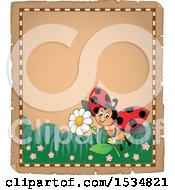 Clipart Of A Parchment Border Of A Ladybug Flying With A Flower Royalty Free Vector Illustration