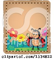 Clipart Of A Parchment Border Of A Waving Ladybug Royalty Free Vector Illustration by visekart