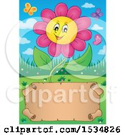 Clipart Of A Parchment Scroll Under A Pink Daisy Flower Character Royalty Free Vector Illustration