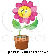 Clipart Of A Potted Pink Daisy Flower Character Royalty Free Vector Illustration