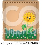 Poster, Art Print Of Parchment Border Of A Sunflower Character