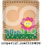 Parchment Border Of A Pink Daisy Flower Character