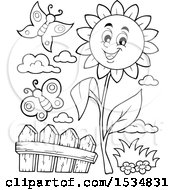 Clipart Of A Black And White Sunflower Character And Butterflies Royalty Free Vector Illustration