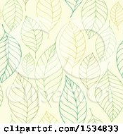 Clipart Of A Green Seamless Leaf Pattern Background Royalty Free Vector Illustration