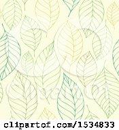 Green Seamless Leaf Pattern Background