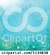 Clipart Of A Blue And Green Flower And Leaf Background With Sun Rays Royalty Free Vector Illustration