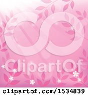 Clipart Of A Pink Flower And Leaf Background With Sun Rays Royalty Free Vector Illustration