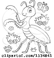 Clipart Of A Black And White Butterfly And Praying Mantis Royalty Free Vector Illustration
