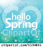 Clipart Of A Blue Hello Spring Design Royalty Free Vector Illustration