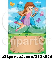 Clipart Of A Parchment Scroll Under A Happy Fairy Flying With A Flower Royalty Free Vector Illustration