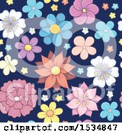 Clipart Of A Seamless Flower Background Royalty Free Vector Illustration