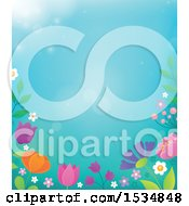 Clipart Of A Spring Flower Border Royalty Free Vector Illustration by visekart