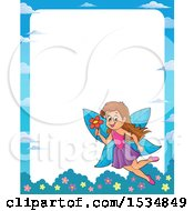 Clipart Of A Border With A Happy Fairy Flying With A Flower Royalty Free Vector Illustration
