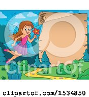Clipart Of A Parchment Scroll By A Happy Fairy Flying With A Flower Royalty Free Vector Illustration
