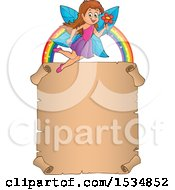 Clipart Of A Parchment Scroll Under A Rainbow And Happy Fairy Flying With A Flower Royalty Free Vector Illustration