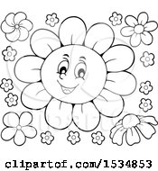 Clipart Of A Black And White Daisy Flower Character Royalty Free Vector Illustration