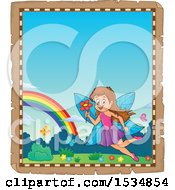 Clipart Of A Parchment Border With A Happy Fairy Flying With A Flower Royalty Free Vector Illustration