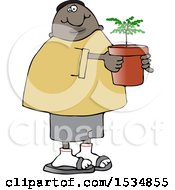 Cartoon Black Man Carrying A Potted Plant Or Tree