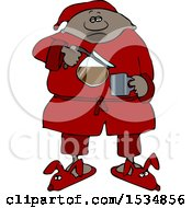 Cartoon Black Man In Slippers And Pajamas Pouring His Morning Coffee