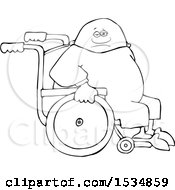 Cartoon Lineart Black Man In A Wheelchair