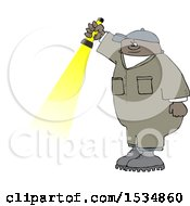 Cartoon Black Male Worker Shining A Flashlight