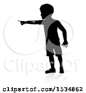 Silhouetted Boy Pointing With A Reflection Or Shadow On A White Background