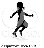 Silhouetted Girl Playing With A Reflection Or Shadow On A White Background
