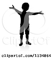 Silhouetted Boy Welcoming With A Reflection Or Shadow On A White Background