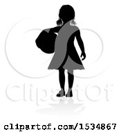 Silhouetted Girl Holding A Ball With A Reflection Or Shadow On A White Background