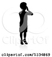 Silhouetted Boy Hollering With A Reflection Or Shadow On A White Background