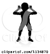 Silhouetted Boy Teasing With A Reflection Or Shadow On A White Background