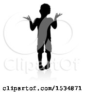 Silhouetted Boy Shrugging With A Reflection Or Shadow On A White Background
