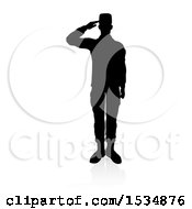 Clipart Of A Silhouetted Soldier Soluting With A Reflection Or Shadow On A White Background Royalty Free Vector Illustration
